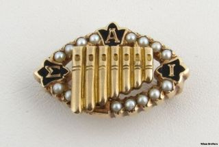 Sigma Alpha Iota Seed Pearl Badge 10K Yellow Gold Pin Musical Sorority