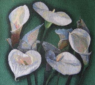 Calla Lily jacquard Tapestry Fabric Panel Green 14 square Made in USA