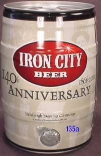 IRON CITY GALLON, 1 QUART, 9 FL.OZ. 5L BEER CAN 140 th ANNIVERSARY