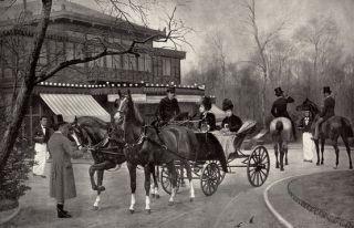 RARE Antique Goubie Print Victorian Horse Carriage Equestrian Art Men