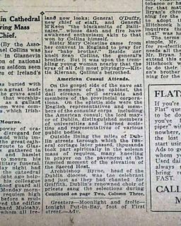1922 MICHAEL COLLINS Irish Free State Funeral & BURIAL Republican Army