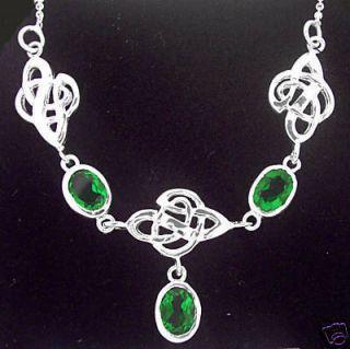 Sterling Silver Celtic Emerald Necklace Irish Jewelry