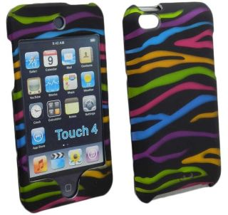 Rainbow Zebra Print Hard Case Cover Skin for Apple iPod Touch 4 4G 4th