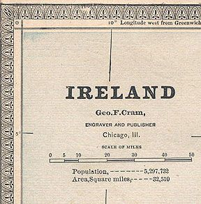 Ireland Antique Map Authentic 126 Years Old Made in 1885