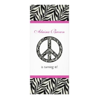 Zebra Print Peace Sign Birthday Party Invitation invitations by