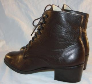 Vintage Dark Brown Leather Lace Up Ankle Riding Womens Boots Grunge