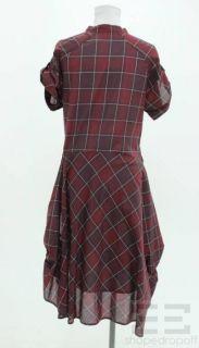 Isabel Marant Maroon Black Cotton Plaid Button Front Dress
