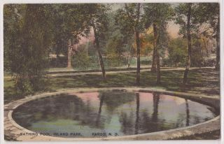 Fargo North Dakota Postcard Island Park Bathing Pool Hand Colored