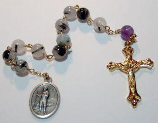 St Isidore Rosary Genuine Tourmaline Quartz Amethyst