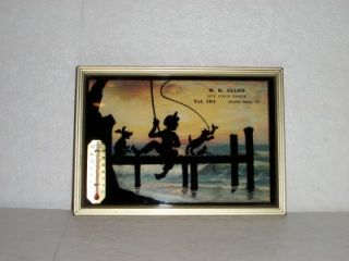 Advertising Thermometer Print Silhouette Fishing Island Pond VT