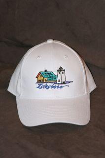 Baseball Cap adjustable white hat Islesboro w Grindle Point Lighthouse