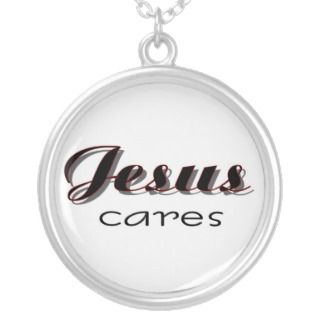 Jesus Cares Christian saying Necklace