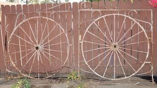 Antique Wrought Iron Wagon Wheel Gate