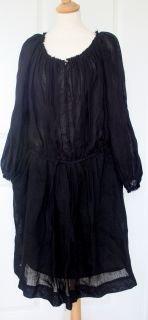 Isabel Marant Bohemian Black Linen Smock Dress 2