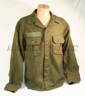 Military U s Army Olive Green Cold Weather Field Shirt Wool M Medium