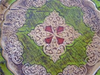 Vintage Italian Florentine Gold Green Red Gilt Wood Tray Florence