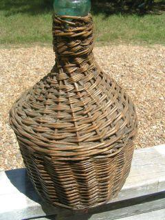 Old Woven Italian Wine Wicker Bottle Jug Demijohn 0141