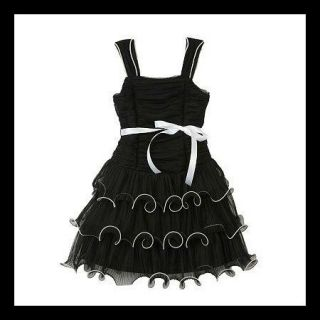 IZ Amy Byer Tiered Ruffle Hipster Special Occasion Black White Dress 4