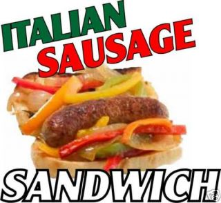 Italian Sausage Sub Sandwich Concession Food Decal 14