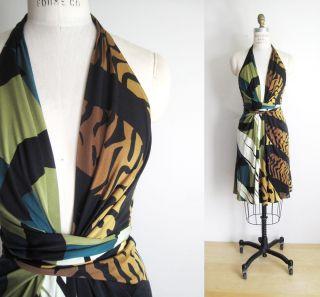 ISSA London Tropical Animal Print Silk Jersey Halter Wrap Party Dress
