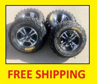 700 ITP SS112 Black Machine Rims on CST Ambush Tires Wheels Kit