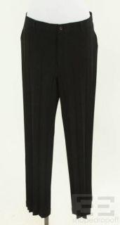 Issey Miyake Black Pleated Straight Leg Pants Size Medium