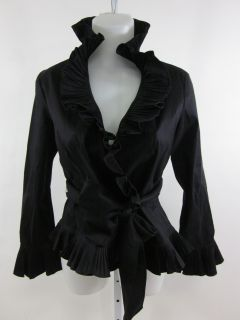 Isadora Collection Black Ruffle Long Sleeve Blouse PM