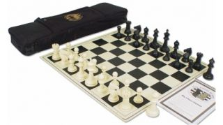 Guardian Plastic Chess Set Black Ivory Black Bag