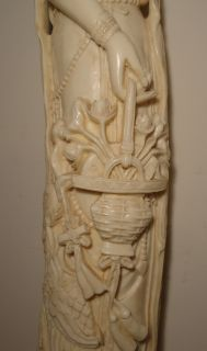 29 VINTAGE FAUX IVORY ELEPHANT TUSK CARVING OF ASIAN GODDESS (see