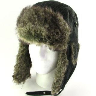 Mens Faux Fur Pinstripe Trapper Ski Snow Hat Black M L