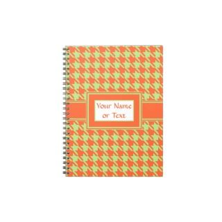 Houndstooth Check Pattern in Green and Orange Round Sticker