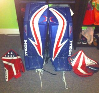 Itech RX5 Adult Goalie Ice Hockey Pads and Gloves
