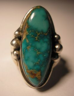 INDIAN NATIVE AMERICAN TURQUOISE STERLING SILVER RING size 8 THOMAS J