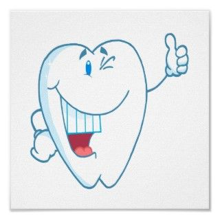 Smiling Clean Tooth Cartoon Character Thumbs Up.ai Posters