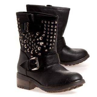 Bamboo Womens Italo Studded Dress Boot Boots Shoes
