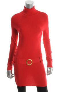 Inc New Key Item Red Ribbed Long Sleeve Turtleneck Tunic Casual Dress