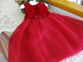 Red Velvet Tulle Party Christmas Holiday Dress 2T 2 Toddler