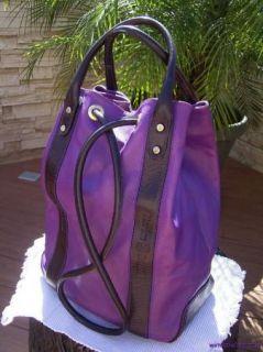 Marino Orlandi Italian Purple Leather Sling Backpack