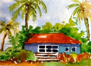 Artist Trading Card ACEO by J Irwin Beach House Landscape