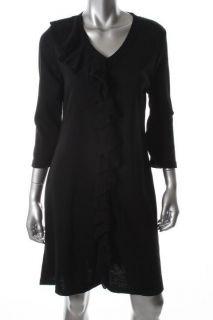 Lennie for Nina Leonard New Black V Neck Ruffled Front Wear to Work