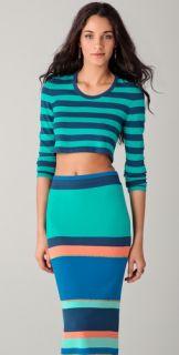 Torn by Ronny Kobo Emma Striped Long Sleeve Crop Sweater