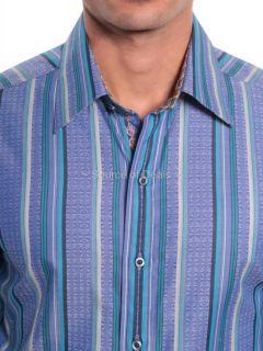 Robert Graham THE J.P. (XL) Blue Classic Stripe Jacquard Sport Shirt