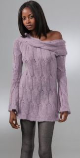 Catherine Malandrino Cable Knit Off Shoulder Sweater