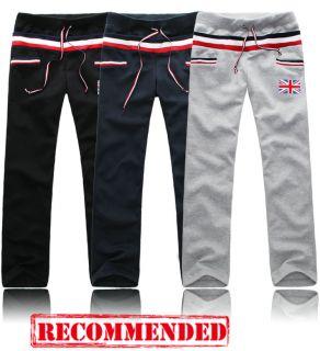 New Men Women Casual Athletic Union Jack UK Flag Striped Sport Pants