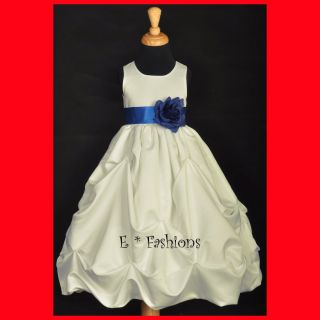 Navy Blue Dress Shoes on Ivory Royal Blue New Flower Girl Dress Sm Lg 2 4 6 8 10