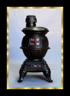 Vtg Ezra Brooks Pot Belly Stove Whiskey Decanter Bottle