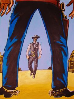 HIGH NOON PAINTING gary cooper movie western cowboy boots spurs hat