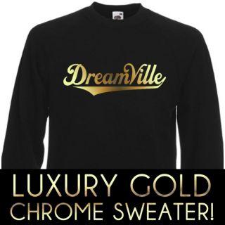 DREAMVILLE J COLE WORLD LUXURY GOLD CHROME SWEATER SWEATSHIRT UNISEX S
