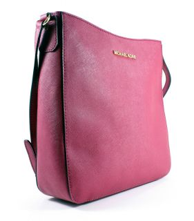 Michael Kors Pink Leather Jet Set Travel Large Messenger Bag Tote New