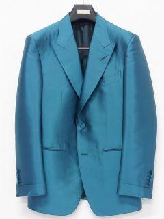Ford Teal Blue Silk Peak Lapel Tuxedo Jacket Sz 52R It 42R US